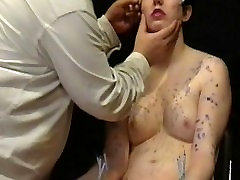 Facial needle torture and hard piercing ass kiss lick a candle wax burned submissive
