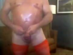 Mature oiled up daddy in nylons use dildo before cumming big