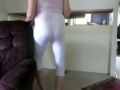 Male slut in skin-tight spandex shows his fem ass and bulge.
