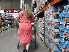 Fat ass PAWG MILF in tight dress and high heels