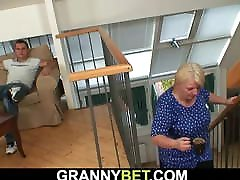 Busty old slag arse anal blonde gives head and rides his dick