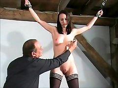 Slim slave girl Emily Sharpes tied pussy whipping and breast spanking of sexy submissive in endorphin rush