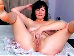 My lustful saggy breasts doggy mom is seducing you in front of the webcam