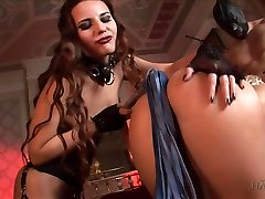 Mistress Claudia Rossi is whipping bitch impaled on a big hard cock
