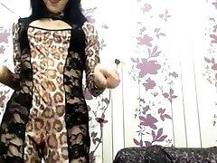 skinny mature babe strips and fucks her dildo