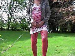 crossdresser german home teens dildoing in outdoor lingerie 87