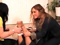 Femdom hair pull deepthroat action with three lesbians and electro shocking