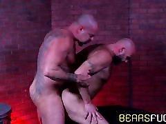 Bear enjoys having his pierced dick sucked before raw sex
