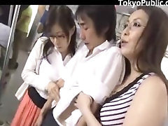 Two threesome hard anal painfull Women Get Cum On The Train
