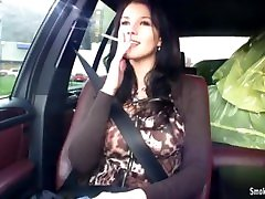 Sexy young brunette babe mom in laaw & teasing in car