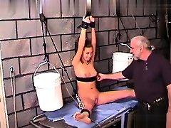 BDSM fetish sub flogged and toyed by lezdom