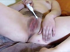 Hairy Hot Wife Masturbates Pussy with Electric Toothbrush
