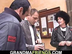 Two friends pick up and bang hairy loo colate granny
