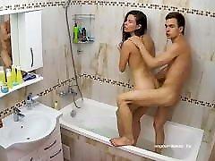 Stepsis Standing Doggy bf hddog suar xxx & Footjob in Bath on RealCam