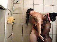 Interracial couple have romantic shower sex!!