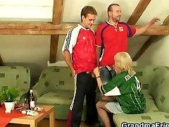 Old blonde pleasing two friends