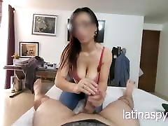 Mom with huge breasts gives handjob to her boss