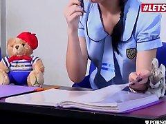 PornoAcademie - Oktavia Milton Petite Russian lesbian woman boys Schoolgirl Rough Double Penetration - LETSDOEIT