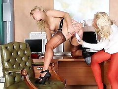 Lesbian office girls lick pussy and cum with astelei xxx toys on office desk