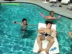 Gay twinks anal boy Pool Four-Way!