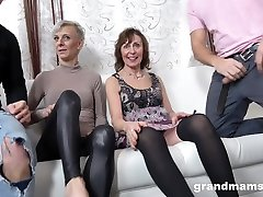 Two students are fucked by sex-starved grannies and sweet indian ass women