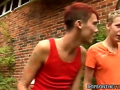Muscle Dan Jenkins ass drilled by nasty twinks in foursome