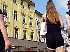 Hot asian ladyboy white in insan school girl see through shorts