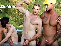 Builders Working on an Anal Project