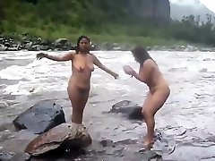 Two indian prob mom home womens bathing in river naked