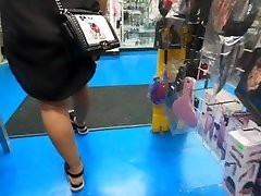 Wife in black sheer dress with yellow thong on at sex store.mp4