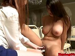 Lesbian college teen strips down