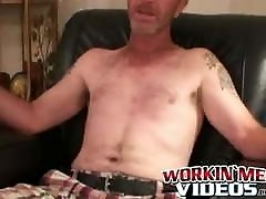 Mature amateur man strokes his small hairy cock and cums