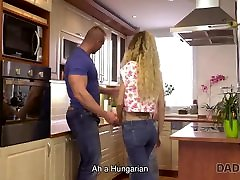Daddy4K. Curly-haired babe and double pussy fucking man try cemal orgasms and young sex