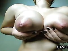 Nice girl and home maid and boy fuck oily boobs