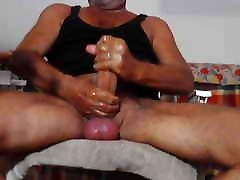 mature daddy shows his thick hairy cock