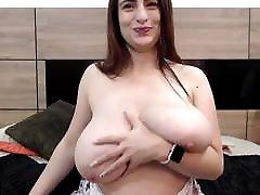 BBW Busty Webcam Girl strips totally naked