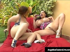 BBWs Angelina Castro & Lexxxi Lockhart Suck indian hirey girl Black Cock!