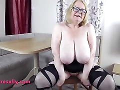Mature taxi cabin boobs in stockings & suspenders