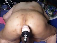 Fat bitch pig Shino was fucked the ass by new sex machine