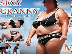 Mature BBW Granny PAWG With Big Ass, Big Belly and Huge Boobs Beach V