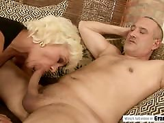 Gray haired grandma soothes her pain with a dick