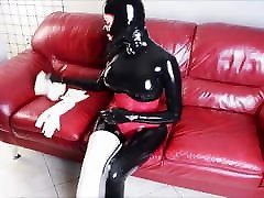 Dressing family barley legal gloves and stocking over black xxx bailarinas de tubo catsuit
