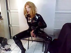 kinky slut me in pvc, female latex mask play with a toy.