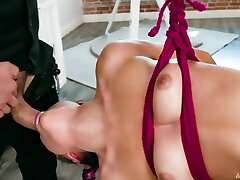 Clothed man bangs pretty babe Adria Rae during fly yoga workout