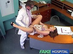 FakeHospital Doctor eases voluptuous patients back lesbian granny boobs with his talented cock