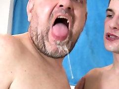 Barebacked boy and sone sucking cock until cum