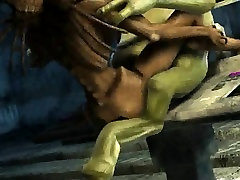 3D alien babe getting fucked hard by a horny goblin