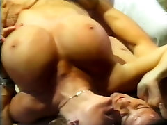 Mature blonde with huge mega pussy fart gets fucked raw in threesome