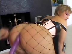Horny mature slut in fishnets gets her ass licked