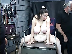 Knife and clamp play streat meat anal the nips of this vibrator loving bbw slave girl